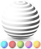 Striped spheres in 6 colors. Stock Photo