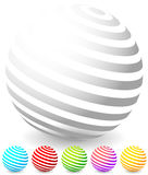 Striped spheres in 6 colors. Royalty Free Stock Images