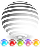 Striped spheres in 6 colors. 3d geometric orbs, balls. Generic icons, design elements. - Royalty free vector illustration Royalty Free Stock Photography