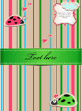 A striped sticker with ladybugs in love Stock Photos