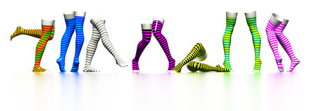 Striped stockings. Row of dancing striped stockings Royalty Free Stock Photography