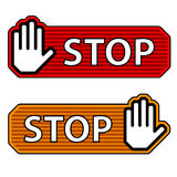 Striped stop hand gesture labels Royalty Free Stock Photo
