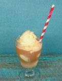 Striped straw in root beer float Stock Photography