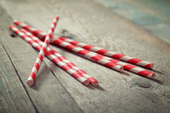 Striped straws Stock Photo