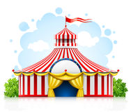 Striped strolling circus marquee tent with flag. Illustration isolated on white background Royalty Free Stock Photography