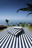 Striped Sunlounger and sunny sea views. Luxury Striped Sunlounger with palm trees and sunny sea views in Spain Royalty Free Stock Images