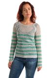 Striped sweater. Pretty redheaded woman in a striped sweater stock image