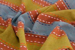 Tablecloth background. Striped tablecloth texture as a background, closeup picture Stock Photo