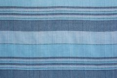 Striped Texture Of Blue Natural Interior Fabric Royalty Free Stock Image