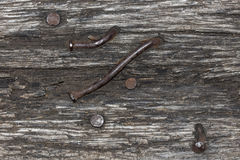 Striped texture of old wood with rusty nails Royalty Free Stock Photo