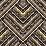 Striped textured greek 3d vector seamless pattern. Ornamental tribal ethnic style ancient background. Repeat geometric backdrop. Abstract ornate tiled zigzag vector illustration
