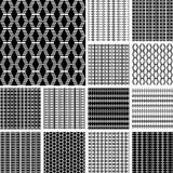 Striped textures with diamond elements. Seamless geometric patterns set. Vector art Stock Image