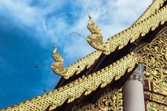 Striped thailand on jediluang temple roof Stock Image
