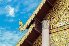 Striped thailand on jediluang temple roof Stock Images