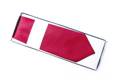 Striped tie in box. Isolate on white background Royalty Free Stock Images