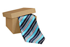 Striped tie in gift box Royalty Free Stock Photography