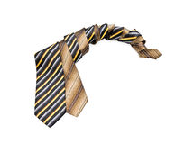 Striped ties twisted in a spiral stock image