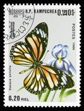 Striped Tiger Danaus genutia, Butterflies serie, circa 1986. MOSCOW, RUSSIA - SEPTEMBER 26, 2018: A stamp printed in Kampuchea Cambodia shows Striped Tiger royalty free stock photo