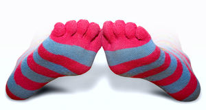 Striped toe socks. Striped wool toe socks in pink and gray Royalty Free Stock Image