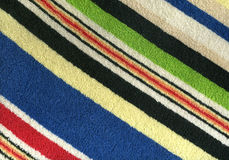Striped towel. Close-up of a striped colored terry towel Stock Photo