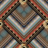 Striped tribal geometric seamless pattern. Vector greek key mean. Ders background. Ornate wallpapers design. Bright ethnic ornaments. 3d ornamental meander Stock Photos