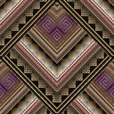 Striped tribal geometric seamless pattern. Vector greek key mean. Ders background. Ornate wallpapers design. Bright ethnic ornaments. 3d ornamental meander Royalty Free Stock Image