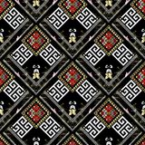 Striped tribal geometric seamless pattern. Vector greek key mean. Ders background. Ornate wallpapers design. Floral ethnic ornaments. 3d ornamental meander Royalty Free Stock Image
