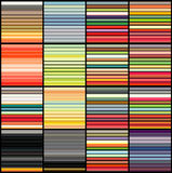 Striped tube patterns in rainbow color over black. 16 striped tube patterns in rainbow color on black Royalty Free Stock Photo