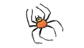 Striped tummy spider. Orange color on white background, illustration Stock Photography