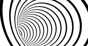 Striped tunnel 3d optical illusion footage. Monochrome torus inside motion visual effect. Black and white abstract