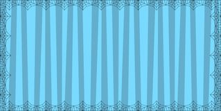 Striped turquoise blue rectangle background with cute vertical stripes framed with spider cobweb. Vector background, banner, Halloween invitation, greeting vector illustration