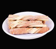 Striped twisted biscuits Stock Photos