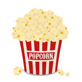 Striped vector bag of popcorn isolated on white. Striped red and white vector bag of popcorn isolated on white Royalty Free Stock Photo