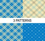 3 striped vector patterns, white and blue texture. 3 striped vector patterns, white blue texture Stock Image