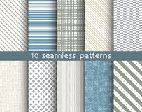 10 striped vector seamless patterns. Textures for wallpaper, fills, web page background Stock Photography