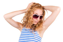 Striped vest and pink glasses Royalty Free Stock Photography