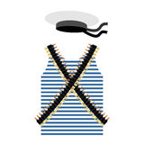 Striped vest shirt-clothing sailor man. Tape with bullets. Cartr Royalty Free Stock Image