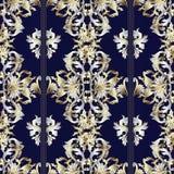 Striped vintage Baroque pattern. Dark blue background. Striped vintage Baroque seamless pattern. Floral vector background. Damask gold silver ornaments, stripes Stock Images