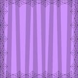 Striped lilac square background with cute vertical stripes framed with spider cobweb. Striped violet square background with cute vertical stripes framed with royalty free illustration