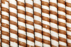 Striped wafer rolls. Royalty Free Stock Images