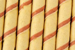 Striped Wafer Rolls Stock Images