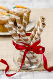 Striped wafer rolls, delicious chocolate snack Stock Photos