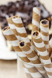 Striped wafer rolls, delicious chocolate snack Stock Image