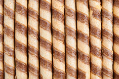 Striped wafer rolls Royalty Free Stock Image