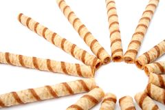 Striped wafer tubules with a chocolate cream, isolated 2 Royalty Free Stock Photography