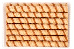Free Striped Wafer Tubules With A Chocolate Cream Stock Images - 1887854