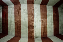 Underground Tunnel Circus Striped Wall. Fisheye circus theme striped wall of an underground tunnel of an abandoned asylum in Pennsylvania Royalty Free Stock Images