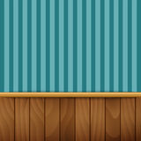 Striped wallpaper with wood paneling.  Stock Photos