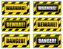 Striped Warning Signs. Stock Images