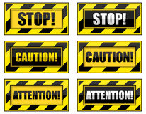 Striped Warning Signs. Royalty Free Stock Photo